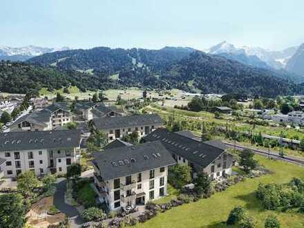 Im Herzen von Garmisch-Partenkirchen: Barrierfreie 2-Zi.-Gartenwohnung mit zeitgemäßem Wohnkomfort