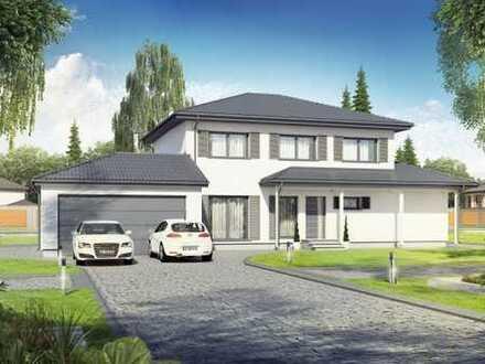 Bebauungsvorschlag! Stadtvilla inkl.Garage - Bodenplatte - KFW 55 - 2000 m ² Grundstück - Kleinpösna