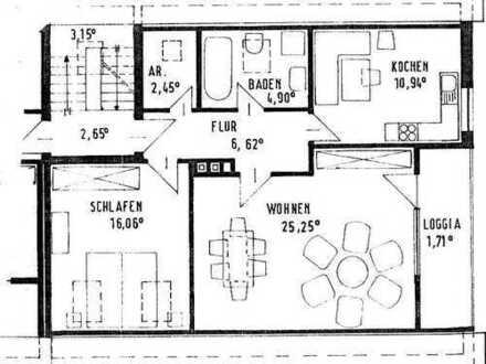 2 Zimmer DG Wohnung mit Loggia
