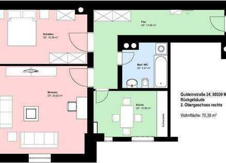 *Schwanthalerhöhe*schöne 2 Zimmer-Wohnung*möbliert*Küche mit EBK*Bad mit Wanne*