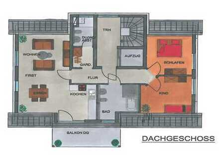 Erstbezug: barrierefreie 3-Zimmer-Dachgeschosswohnung mit Balkon in Nüdlingen