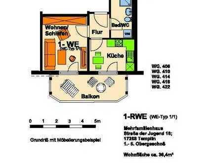Frisch sanierte 1-Raum-Wohnung mit Balkon ab Oktober 2021