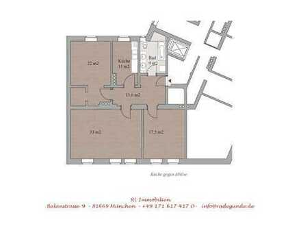 Haidhausen, 3 Zimmer AB renoviert, Lift, Parkett, Holzfenster