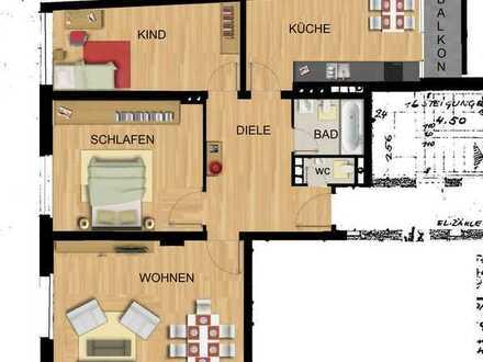 Renovierte 3,5-Zimmer-Wohnung mit Balkon in Wesel StaDTMITTE