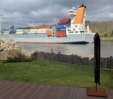 1. Reihe Nord-Ostsee-Kanal mit grandiosem Wasser- und Traumschiffblick