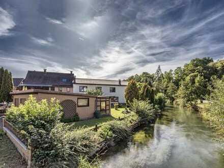 Gepflegtes Wohn-Gewerbeanwesen direkt am Bach - in Rhumspringe