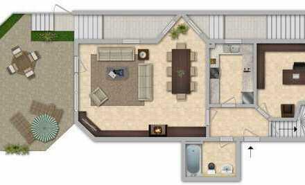 Wohnen und Arbeit auf 2 Etagen – Terrassenwohnung inklusive Bürofläche mit separatem Zugang
