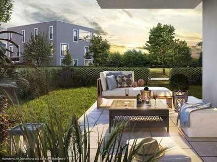 Ideal geschnittene 2-Zimmer-Gartenwohnung mit West-Terrasse und großzügigem Wohnbereich