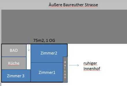 Gepflegte 3-Zimmer-Wohnung mit Balkon und Einbauküche in Nürnberg nahe U-bahn und Innenstadt