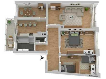Vollständig renovierte Wohnung mit vier Zimmern und Balkon in Pforzheim