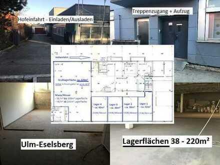 Lagerflächen 38-220m², Ulm-Eselsberg