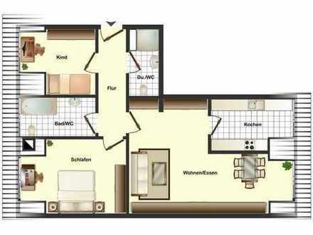 Sofort beziehbare helle 3-Zimmer-ETW mit 2 Bäder, ideal für junge Leute