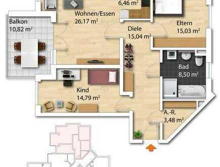 helle, geräumige 3-Zimmerwohnung mit großem Westbalkon