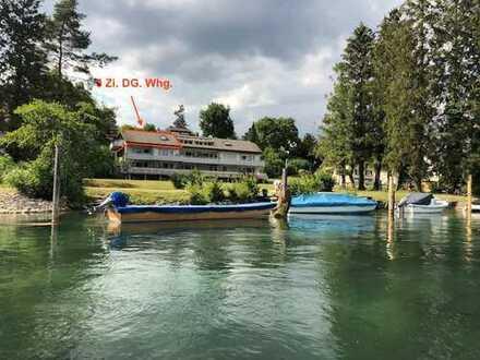 Wohnen, wo andere Urlaub machen! 3 Zi. DG. Whg. (2.OG.)mit Rheinsicht und Badeplatz direkt am Rhein.