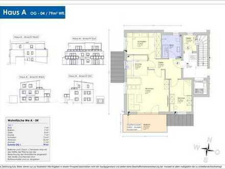 Neubau - 79m² Obergeschosswohnung mit großem Südbalkon (04)