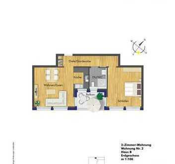 Helle 2 Zimmerwohnung im Erdgeschoss (B2)