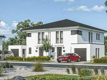Schöne schlüsselfertige Doppelhaushälfte KfW 40+ inkl. Grundstück, Keller, Garage, PV-Anlage & Küche