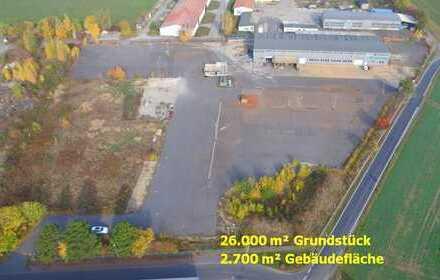 26.058 m² Gewerbegrundstück mit 2.746 m² Industriehallen, Büro- und Sozialräumen, Nebenflächen