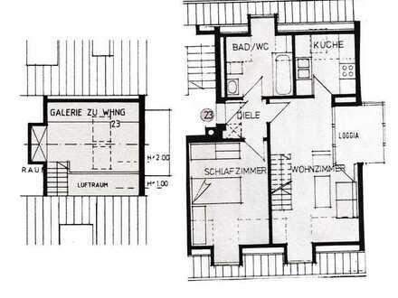 Helle 2-Zimmer Galeriewohnung. Ruhige, zentrale und gute Wohnlage.