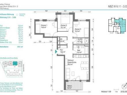 NEUBAU! Schöne 4-Zimmer-Wohnung (NBZ6.11) mit Balkon zum begrünten Innenhof