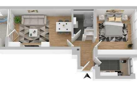 2 Zimmer Wohnung mit Balkon und Aufzug