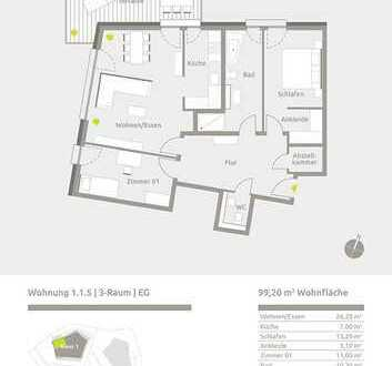 Ihr Traum im Grünen - 3 Raum-Wohnung neu gebaut!