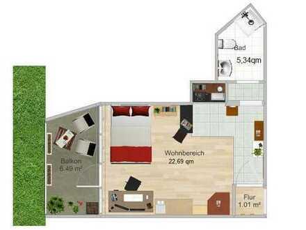 Exklusive, vollständig renovierte 1-Zimmer-Wohnung mit Balkon und Einbauküche in Karlsruhe