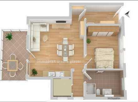 2-Zimmerwohnung mit großem Balkon und schöner Aussicht