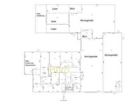 Gewerbehalle ( 1000m² ) + Büro (465m²) zu vermieten