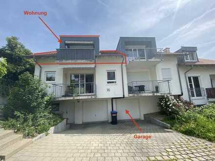 Gemütliche 3 Zi. DG. Whg. (1.OG.) mit EBK, Balkon und Garage, ab SOFORT frei. 4WE.