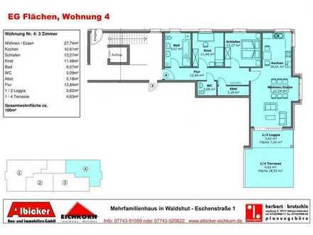 Mietwohnung -Erstbezug : 3 Zimmerwohnung Erdgeschoss mit Lift