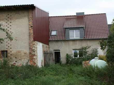 Ein Viertel eines Vierseitenhofes mit Wohnhaus und Scheune