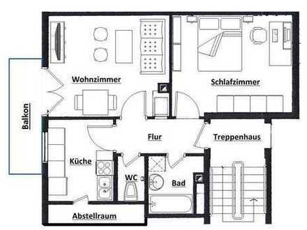 Helle, modernisierte 2-Zimmer-Dachgeschosswohnung mit Balkon und EBK in Filderstadt
