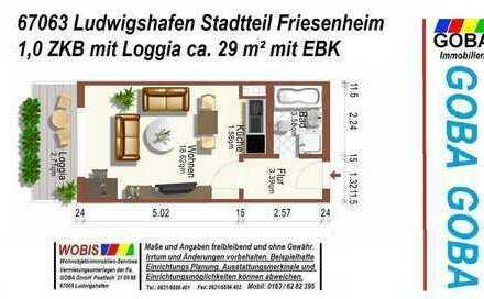 Lu Friesenheim 1.4.20 od. evtl. früher/helle/kompakte 1 ZKB 29 m² Wohn-/Arbeitsbereich/Loggia+EBK