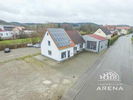 Gewerbehalle mit Büro, Photovoltaikanlage und weitere Option für Neubau eines Wohnhauses mit Garage!