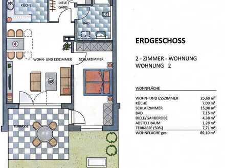 Neuwertige 2 Zimmer Wohnung mit Terasse und Gartenanteil