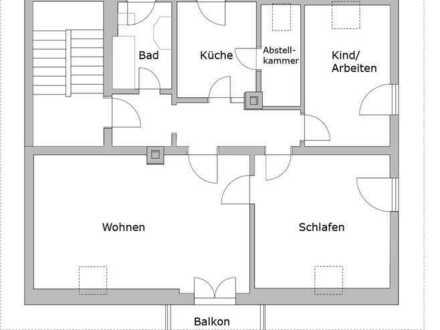 Helle, sanierte Dachgeschosswohnung mit drei Zimmern sowie Balkon und Blick über Gerbrunn