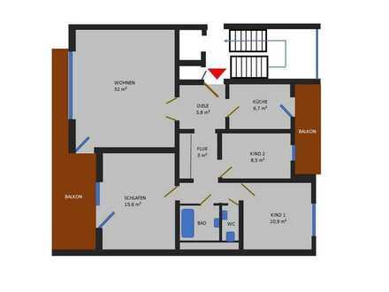 93 m² Wohnfläche, Südbalkon, 3 Schlafzimmer, großes Wohnzimmer