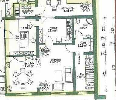 Preiswerte, gepflegte 4-Zimmer-Maisonette-Wohnung mit Balkon und Einbauküche in Marienthal