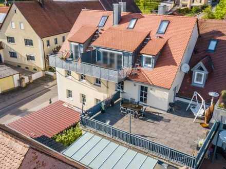 Im privaten Bieterverfahren! 3/4-Zimmer Wohnung mit Riesen-Dachterrasse in Ansbach-Eyb