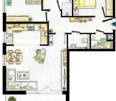 Neuwertige 3-Zimmer-Wohnung in zentraler Lage mit Balkon und Küche