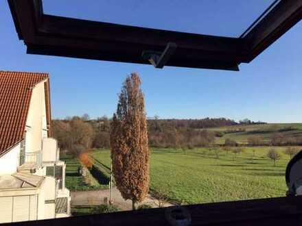 Wohnen mit toller Aussicht in Feldrandlage: Helle 3ZKB DG in Bruchsal-Heidelsheim