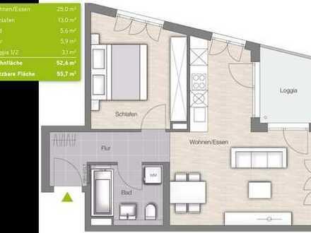 Erstbezug: ruhige 2-Zimmer-Wohnung mit EBK und Loggia in München (von privat)