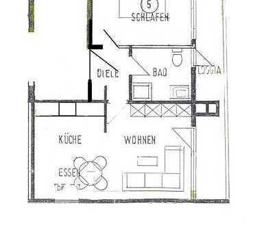 Schöne 2 - Zimmer Wohnung mit überdachtem Balkon und EBK in Horb-Dettingen