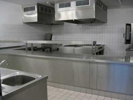Gewerbeküche, Vorbereitungsküche mit Kücheneinrichtung und Büro