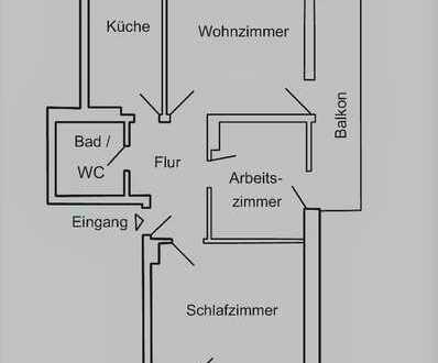 Helle drei Zimmerwohnung mit Balkon in Aachen, Burtscheid