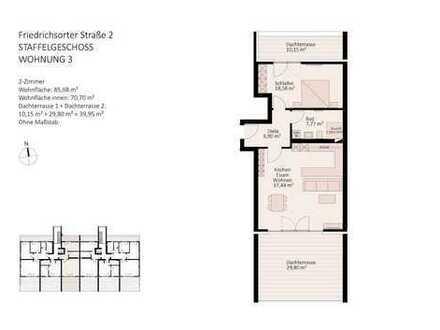 2 Zimmer-Penthouse-Wohnung mit 2 Dachterrassen