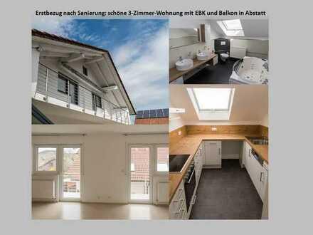 Erstbezug nach Sanierung: schöne 3-Zimmer-Wohnung mit EBK und Balkon in Abstatt