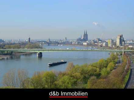 Panorama-Aussicht auf Dom und Rhein. 3 Zi-Wohnung im Axa-/Colonia-Hochhaus.