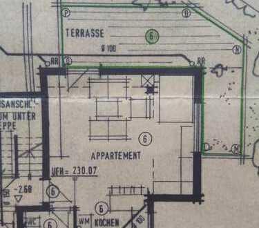 Exklusive, geräumige 1-Zimmer-EG-Wohnung mit Balkon und Einbauküche in Sersheim